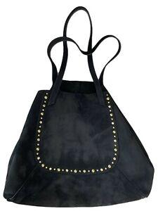 Hobo Black Suede Studded Tote Handbag Oversized Leather