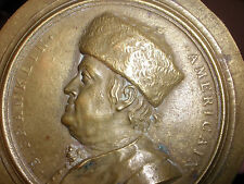Antique Benjamin Franklin fur hat bronze medallion medal att Jean Baptiste Nini