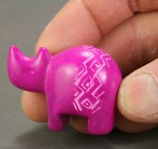 Itty bitty soapstone rhino - Pink - Hand carved in Kenya - Rhinoceros.