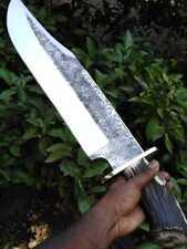 Blacksmith New Custom Handmade Die Tool Steel Long Musso Bowie Knife, Stag Horn
