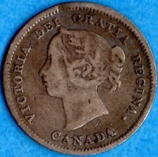 Canada 1888 5 Cents Five Cent Small Silver Coin - VG/F
