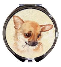 CHIHUAHUA DOG HANDBAG COMPACT MIRROR WATERCOLOUR PRINT SANDRA COEN ARTIST