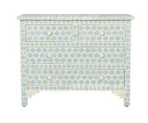 Handmade Bone Inlay Honeycomb Blue Solid Wood Cabinet Dresser Chest