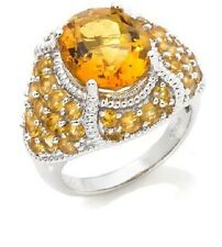 Victoria Wieck Oval Citrine and  Pave Dome Ring in Sterling SIlver  Size 7