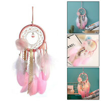 Pink Feather Wind Chime Dream Catcher Handmade Wall Hanging Decoration Ornament