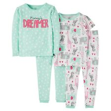 NWT Carters Jungle Hearts Giraffe Elephant Girl 4PC Summer Fall Pajama Set 2T