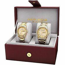 Akribos XXIV Men's and Women's AK888YG Watch With Yellow Gold Dial Bracelet Set