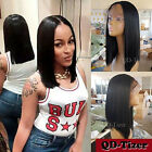 Women Short Bob Synthetic Lace Front Wig Baby Hair Glueless Silky Straight Black
