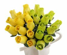 Orchid & Ivy 24 Beautiful Realistic Wooden Roses - Artificial Flowers - Lemon Li