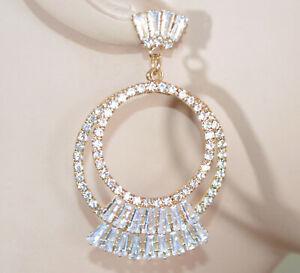ORECCHINI ORO donna cerchi dorati strass cristalli brillanti eleganti wedding D9