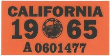 1965 CALIFORNIA Vinyl Sticker License Plate Reg.TAB - CAR-TRUCK-MOTORCYCLE - NEW