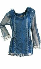 Pretty Angel Clothing Virgie Victorian Button Down Ruffle Vest in Blue 65760 Small