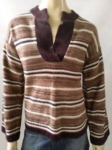 WHEEL OF FASHION vintage ladies size 16 jumper knit brown striped retro