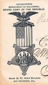 GAR Grand Army of Republic Medallion Logo San Francisco Hdqtr 1891 Duplex M $