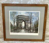 Vintage Framed & Matted Georges B Paris Print of Arc de Triomphe