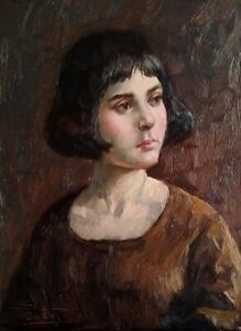 Young woman with dark hair (original oil painting)