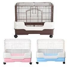 """New 25"""" Rabbit Chinchilla Ferret Bunny Pet Cage Crate w Tray, Urine Guard Castor"""