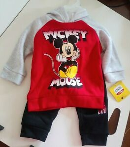 Disney Mickey Mouse Red Outfit Sweatshirt Hoodie Black Jogger Pants Baby 12M
