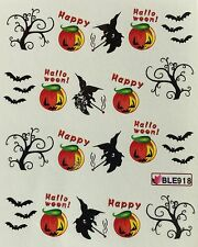 Nail Art Water Decals Happy Halloween Witch Jack-o-Lantern Pumpkin Bat BLE918