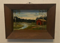 Vintage Original Signed Oil Painting - Gilbert Green - Rural Landscape, Red Barn