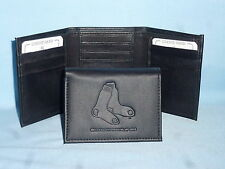 BOSTON RED SOX   Leather TriFold Wallet    NEW    black 3  m3