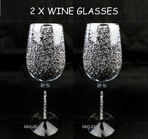 2 x Wine Glasses Silver Crushed Diamond Crystal Filled Reusable Glass Gift Decor