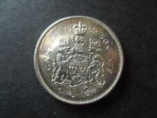 J854 COINS  CANADA 1965  SILVER  50  CENTS  AU/UNC