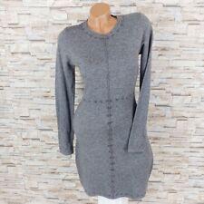 MADE IN ITALY Bodycon Strickkleid Winterkleid mit Nieten Perlen grau 34 36 38