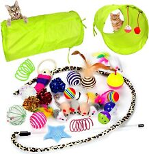 21 Pcs Cat Toys Kitten Toys Assorted, Cat Tunnel Catnip Fish Feather Basic