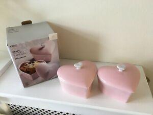 Next Set of 2 Pink Heart Ramekins - New in Box