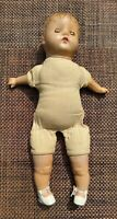 "Creepy Doll Antique Composition & Cloth Sleep Eyes Sweetheart Lips 16"" w Crier"