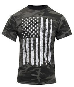 Rothco Camo US Flag T-Shirt - Black Camouflage Shirt USA Flag 10546