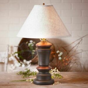 Peppermill Table Lamp in Black with Ivory Linen tan Shade