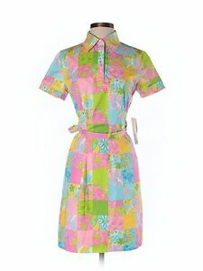 New Women Lilly Pulitzer Rainbow Patch Cookie Shirt Dress Size 4