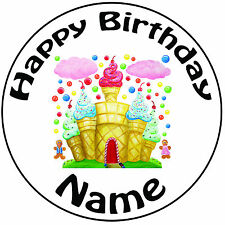 "Personalised Candy Castle Icing Cake Topper Round Easy Pre-cut 8"" (20cm)"