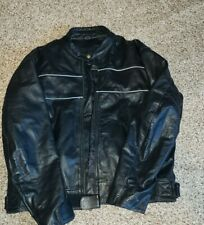 Xelement Black Leather Motorcycle Jacket 3XL lined