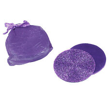 Set Of 6 Purple Beaded Round Satin-Backed Coasters, In Gift Bag, Many available