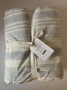 Pottery Barn Hawthorn Striped Cotton Duvet Bed Cover California King BLUE NEW