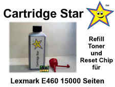 Nachfülltoner und Reset Chip für Lexmark E460 15000 Seiten