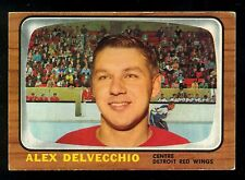 1966 67 TOPPS HOCKEY #102 ALEX DELVECCHIO EX+ DETROIT RED WINGS CARD