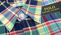 NWT $98 Polo Ralph Lauren LS Plaid Oxford Shirt Mens Blue Navy Red Green NEW