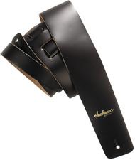 "Jackson 2"" Leather Logo Adjustable Guitar Strap Extra-Long Up to 63"" - Black"