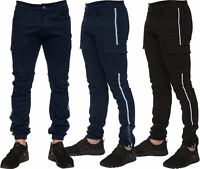 Enzo Jeans Mens Combat Trousers Cargo Chinos Slim Stretch Cuffed Joggers Pants