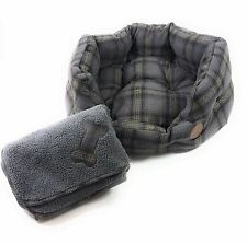 HIGH QUALITY GREY TWEED TARTAN CHECK FLEECE PET DOG SMALL BASKET BED & BLANKET