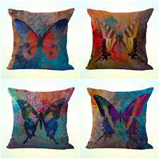 US Seller- 4pcs cushion covers retro butterfly throw pillow cover