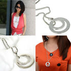 Shiny New Women Fashion Crystal Silver Plated Long Chain Pendant Necklace Gift