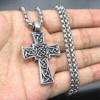 Men's Vintage Stainless Steel Celtic Cross Filigree Irish Knot Necklace Pendant