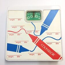Counselor Bathroom Scale Vintage 1993 Dial Weight & Date Crayons White Metal