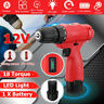 12V Cordless Electric Impact Drill LED Level 18-Speed Torque W/ Li-ion