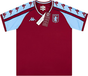 Aston Villa Men's Shirt Kappa Retro Replica Football Shirt - Burgundy - New